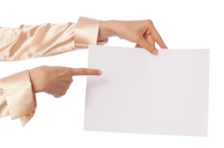 The new worker holds the white blank paper in the hand Stock Photo - 8509745