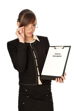 Woman holding digital document in the hand photo