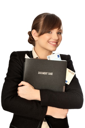 Business woman holding the document case with money in the hands as a symbol of wealth Stock Photo