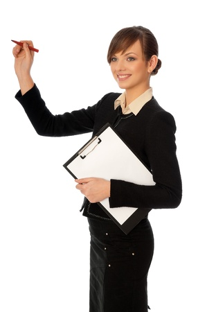 The manager with white blank paper in the hands making a presentation photo