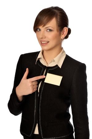 femme montrant son badge ? l'entr?e de la salle de r?union Banque d'images