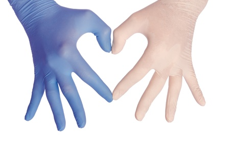 cardiologist in blue and white gloves saving life of all his patients photo