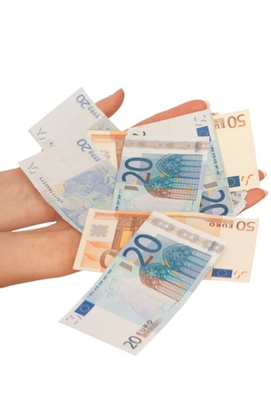The criminal took dirty euro money in hands photo