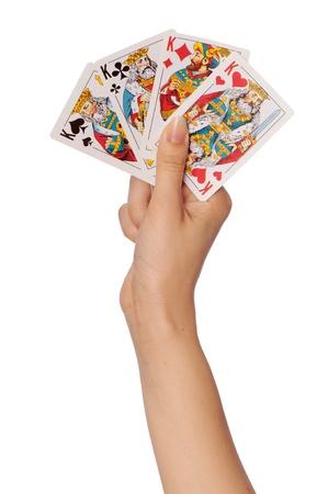 hand business card: La ragazza si mantiene in una carte di mano nel casin� per vincere Editoriali