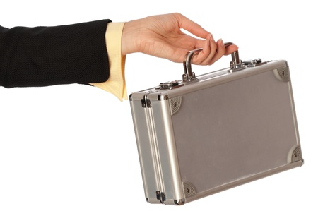 woman giving a silver metal case with money photo