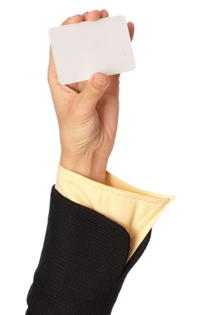 businesswoman showing her business card to the partners photo