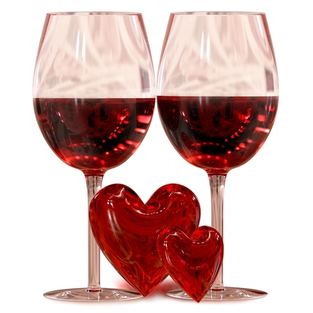 two wineglass with two hearts as symbol love on valentines day on February, 14th photo
