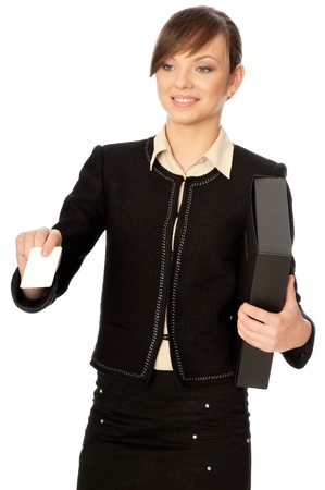 businesswoman giving her business card to the partners Stock Photo - 8713074