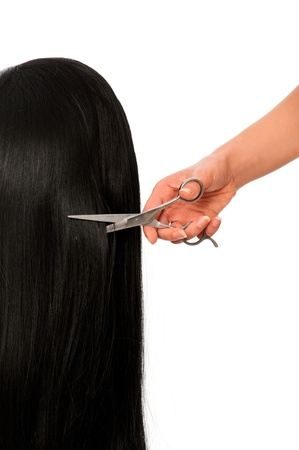 haircutting: hairdresser cutting young woman with long black hair