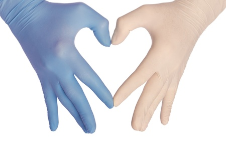 latex: cardiologist in blue and white gloves saving life of all his patients