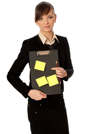 categorize: The office worker working in office and holding the document case with stickers in the hands