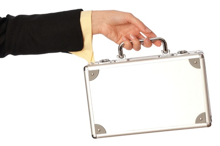 woman giving a silver metal case with money Stock Photo - 8806604