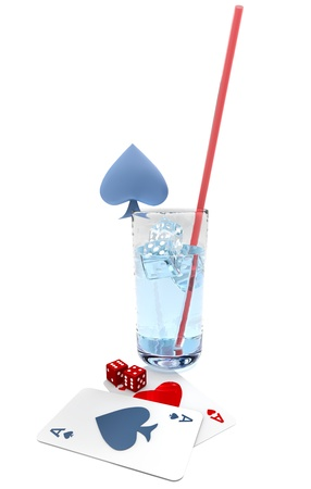 cards and dice with a blue cocktail in the casino photo