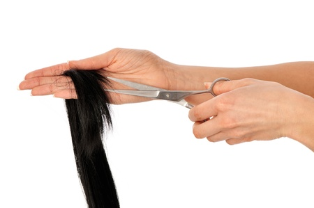 hairdresser cutting young woman with long black hair Stock Photo - 8819433