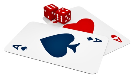 two ace cards and two dice in the casino photo