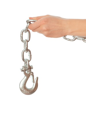chain with a hook in the hands of crane operator at construction site Stock Photo - 8806900