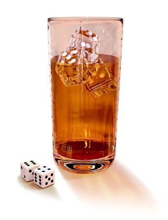 cards and dice with cocktail in the casino photo