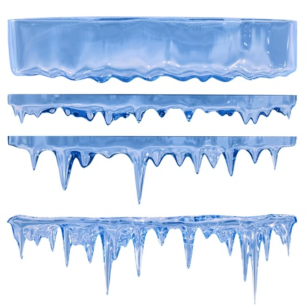 ice age: Thawing icicles of a blue shade with water droplets