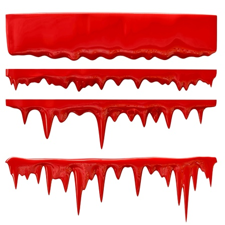 froze: streaks of blood or red paint trickles down from the wall Stock Photo