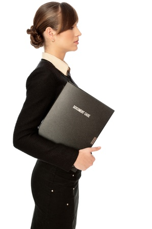 categorize: The office worker working in office and holding the document case in the hands