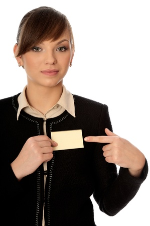 woman showing her badge at the entrance of meeting room Stock Photo - 8903019