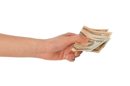 doctor putting money: The criminal took dirty dollars money in hands Stock Photo