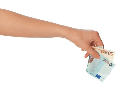 doctor putting money: The criminal took dirty euro money in hands