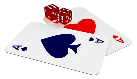 two ace cards and two dices in the casino photo