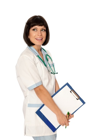 The doctor holding clipboard with blank paper in the hand photo