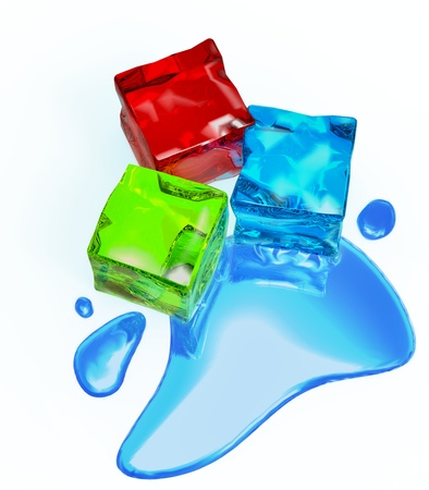gelatin: Thawing colored cube jellies and ice with water droplets Stock Photo