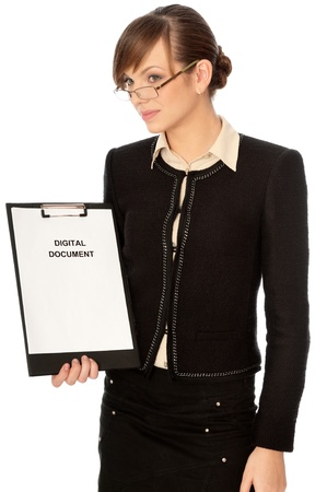 Businesswoman holding digital document in the handaking presentation photo