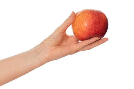 corroboration: woman holding in the hand one fresh red apple Stock Photo