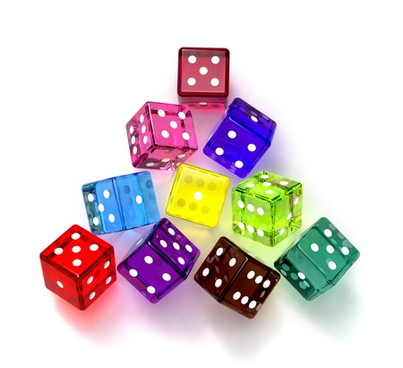 colored dices for game in the casino at this night Stock Photo - 8965390