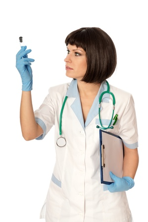 antidote: doctor holds a tube with sample of new antidote