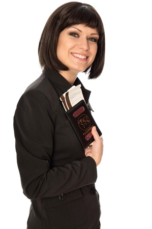 Woman holding in the hand passport and tickets for business trip Stock Photo