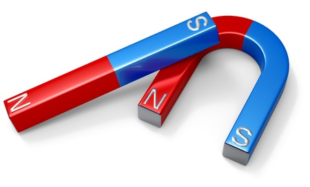 magnetic north: Horseshoe magnets with red northern and blue southern poles on white Stock Photo