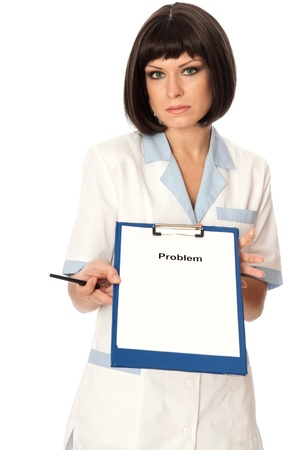 The doctor proposes her help to patients photo