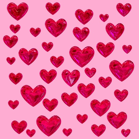 set of red hearts on a pink background as a texture Stock Photo - 9184113