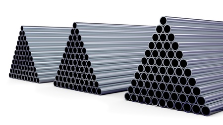 New steel pipes for gas pipeline in the shape of a pyramid stacked at warehouse photo