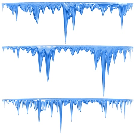 Thawing icicles of a blue shade with water droplets Stock Photo