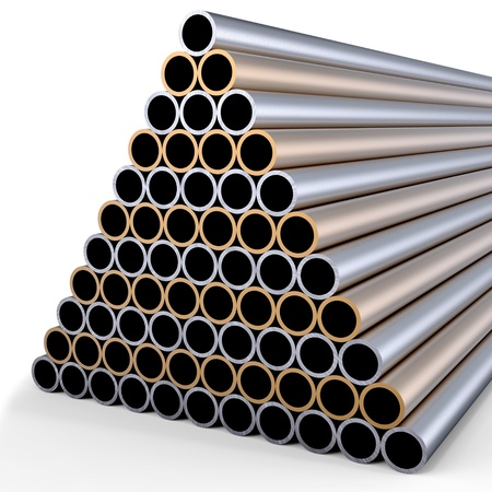 triangle objects: tubes made of rare earth alloys for high-tech production of drugs  in shape of a pyramid folded at stock