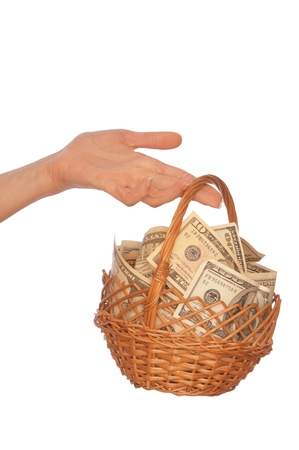 businesswoman owns the currency basket with dollars for stable business photo