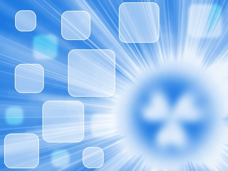 Blue background with rays of light and a source of radiation in the form of a blurred symbol of radiation Stock Photo - 9321637