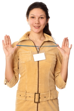 woman showing her badge at the entrance of meeting room photo