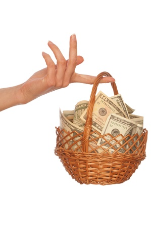 businesswoman owns the currency basket with dollars for stable business Stock Photo - 9381106