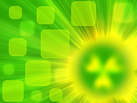 green background with rays of light and a source of radiation in the form of a blurred symbol of radiation photo
