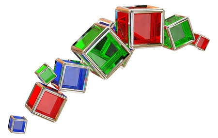 ray tracing: red, blue and green glass cubes in a metal frame