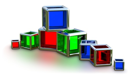 red, blue and green glass cubes in a metal frame photo