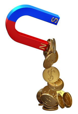 magnetismus: Magnet zieht Dollar als Symbol der Raub von Investitionsdarlehen oder Gutschrift von Menschen