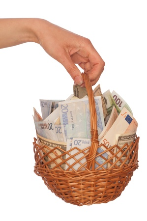 debt collection: businesswoman owns the dual currency  basket with dollars and euro for stable business